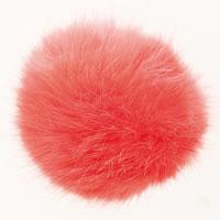 Pompon acrylique aspect fourrure diam. 10 cm - Rico Design - Corail