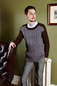 Cabled Saddle Shoulder Sweater
