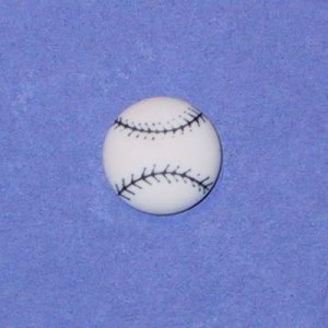 Bouton balle de base-ball 14 mm Blanc