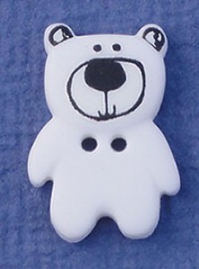 Bouton Petit Ours 20 mm - Blanc