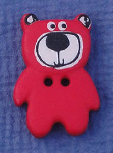 Bouton Petit Ours 20 mm - Rouge