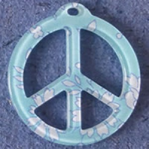 Pendentif Liberty Capel Peace and Love 39 mm - Turquoise