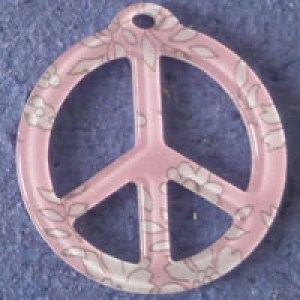 Pendentif Liberty Capel Peace and Love 39 mm - Rose clair