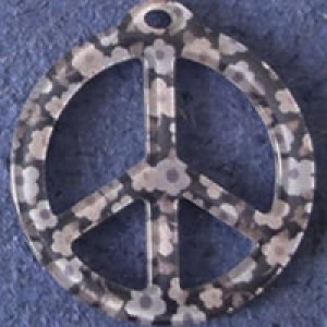 Pendentif Liberty Peace and Love 39 mm - Noir