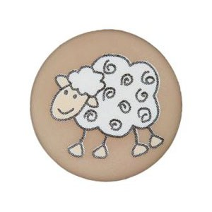 Bouton avec dessin de mouton 15 mm - Marron