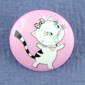 Bouton Miss Cat 18 mm - Rose
