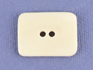 Bouton rectangulaire en os 35x25 mm - Ecru